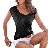 Elegant Damen T-Shirt Sommer Freizeit Böhmen Sterne Drucken Oberteile Hevoiok Fashion Bluse Neu Kurzarm-Shirt Frauen Tops (Schwarzer, M)