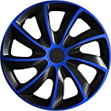 (Größe wählbar) 15 Zoll Radkappen / Radzierblenden Quad Bicolor (Schwarz-Blau) passend für fast alle Fahrzeugtypen – universal
