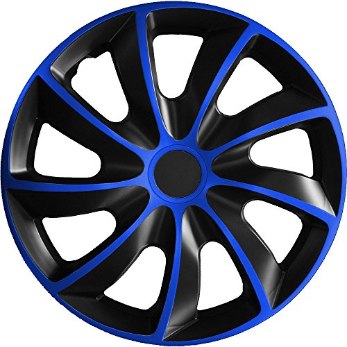 (verschiedene Größen) 14 Zoll Radkappe / Radzierblende 1 Stück Quad Bicolor (Schwarz-Blau) passend für fast alle Fahrzeugtypen - universal Blau 14