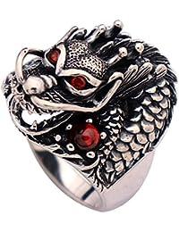 7f10d2d3c644 FORFOX Anillo gótico negro de plata de ley 925 con cabeza de dragón chino y  piedra