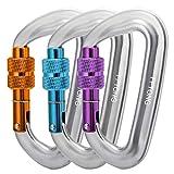 FFTONG Mousqueton, 12KN Porte-clés Mousqueton Aluminium vis Mousqueton d-Anneau en Forme de Mousqueton pour vases, Camping, randonnée, pêche, etc.(Multicolores 3 pièces)