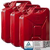 3x Oxid7® Benzinkanister Kraftstoffkanister Metall 20 Liter Rot mit UN-Zulassung - TÜV Rheinland Zertifiziert - Bauart geprüft - für Benzin und Diesel
