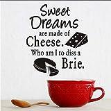 Mrhxly InsCucina Wall Sticker Sweet Dreams Formaggio Brie Cake Pattern Vinyl Decal Home Decor Adesivi Per Piastrelle Da Cucina A Parete 55 * 64Cm