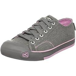 Keen Coronado Damen Schuhe Canvas Sneaker Freizeit Schnürer vegane Halbschuhe Plimsolls Grau Rosa, Schuhgröße:36