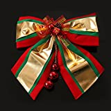 LiWan Christmas Bow Tie decorated with gold large red, green and gold wall decoration holiday supplies Window Wall Christmas ornaments, bow tie, green [Large]