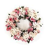Handmade floreale ghirlanda di fiori artificiali rosa corona per home party Decor hydrangea wreath-pink