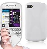 Cadorabo - Custodia silicone TPU X-Line Design per Blackberry Q10 - Case Cover Involucro Bumper Astuccio in BIANCO-FLOREALE