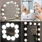 Hollywood de style Miroir cosmétique LED lumières Tech Set Coiffeuse table de maquillage miroir Kit, JHS avec intensité variable 10ampoules LED, Éclairage Corps Bandes, 13,5Pied, miroir pas ent