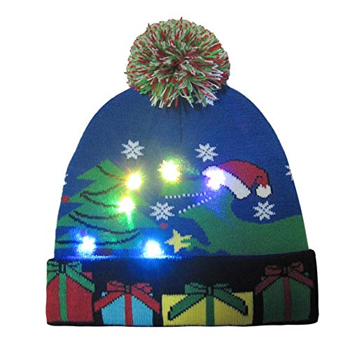 Yvelands Light-up gestrickter hässlicher Pullover Holiday Xmas Weihnachten Beanie