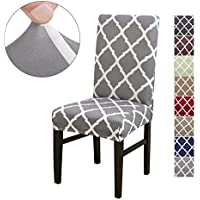 LiveGo Chair Cover, 4 Pack Stretch Dining Chair Covers High Back Chair Protective Cover Slipcover,Elastic Chair Protector Seat Covers for Dining Room Wedding Banquet Party Decoration(Gray+white)