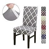Cubierta para silla LiveGo, paquete de 4 cubiertas para silla de comedor elástica Silla con respaldo alto Funda protectora Funda protectora para silla, Gray+White