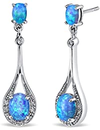 Revoni Opal Earrings Sterling Silver Oval Shape 3.50 Carats