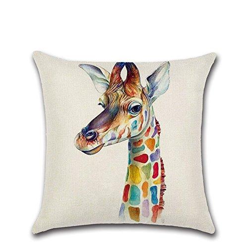 -Kissenhülle für Sofa Bett Wohnzimmer Schlafzimmer-Dekor, personalisierbar Baumwolle Leinen Kissenbezug Kissenhülle 45x 45cm/18x 18inch giraffe ()