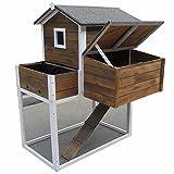Melko® XXL Hasenstall Kleintierhaus mit Freilaufgehege, 96 x 97 x129 cm, aus Holz, Inkl. Rampe