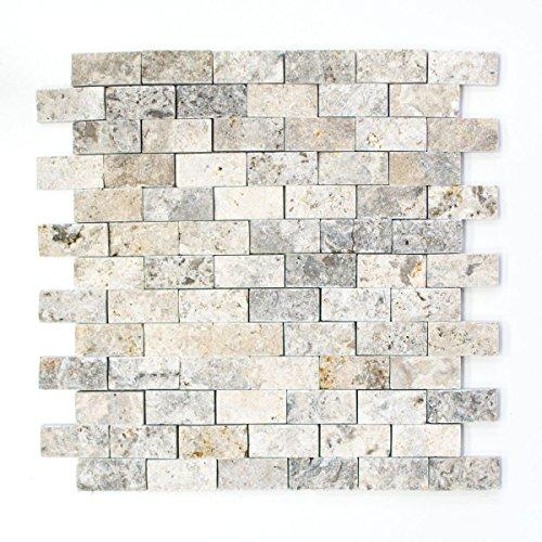 Mosaik Fliese Travertin Naturstein weißgrau Brick Splitface silber Travertin 3D für WAND BAD WC DUSCHE KÜCHE FLIESENSPIEGEL THEKENVERKLEIDUNG BADEWANNENVERKLEIDUNG Mosaikmatte Mosaikplatte (Brick-wand-fliesen)