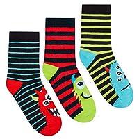 JollyRascals Boys Socks 3 Pairs Ankle Socks Camo Camouflage or Monster Socks Kids 3 PACK UK Size 6-8.5 9-12 12-3.5 MONSTER UK 6-8.5