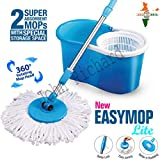 John Richard 360° Spin Floor Cleaning Easy Bucket PVC Mop with 2 Microfiber Heads ( Assorted Color )