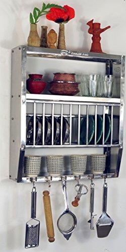 Guru-Shop Edelstahl Küchenregal, Wandregal Miniküche mit Ablagefür 11 Teller, 6 Tassen, 51x45x13 cm, Weinregale & Kleine Regale - Teller 11