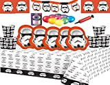 Fiesta de Star Wars Stormtrooper Vajilla Fiesta de cumpleaños para niños Suministros Tazas Platos Mantas de mesa Banners para 16 invitados Globos gratis Bomba y velas Provistos con este paquete
