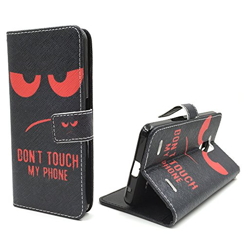 König-Shop Handy Tasche für Apple iPhone SE Flip Cover Case Schutz Hülle Etui Motiv Wallet, Farbe:Don't touch my Phone Rot Don't touch my Phone Rot