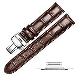 Uhrenarmband Echtem Leder Armband Ersatz Druckknopf Butterfly Deployant Verschluss Uhrenarmbänder für Herren und Damen, Fit für Traditionelle Uhren, Business Uhren und Smart Uhren 22mm Braun
