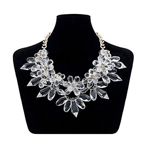 XXL Cadena Collar llamativo lujo Crystal flores espina NUEVO