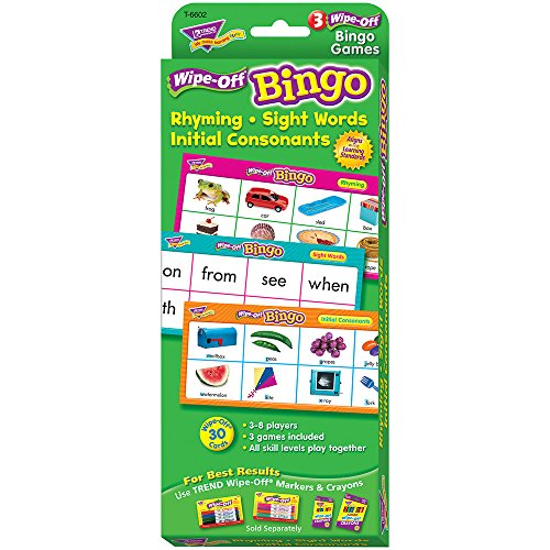 Rhyming/Sight Words/Consonants Wipe-Off Bingo Game by Trend Enterprises Inc