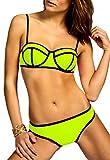 CASPAR BIK003 Damen Bandage Triangel Bikini Set Unicolor