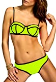 CASPAR BIK003 Damen Bandage Triangel Bikini Set Unicolor, Farbe:neon gelb;Größe:34 XS UK6 US4