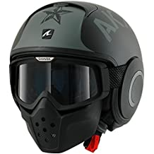 Tiburón Drak/RAW Open Face casco de moto con gafas–Soyouz alfombrilla KSK