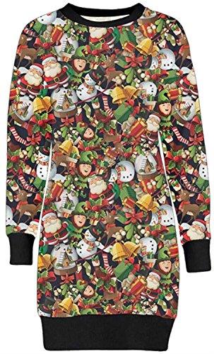 Frauen Christmas Reindeer Printed lange Sleeve weihnachten Sweatshirt Pullover Kleid 36-50 (40-42, Comic Christmas Print)
