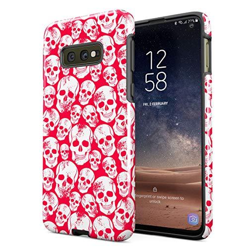 Cover Universe Hüllen für Samsung Galaxy S10e Hülle, Grunge Red Gothic Skeleton Punk Rock Mini Skulls Pattern stoßfest, zweilagig mit Hardcase aus PC + Hülle aus TPU, hybride Case Handyhülle