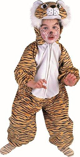 KARNEVALS-GIGANT Tigerkostüm Tiger Plüsch Kostüm Kinder Jungen Mädchen Plüschkostüm Unisex Größe 128 (Kostüm Tiger Für Mädchen)