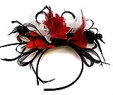 Caprilite Fashion Schwarz Rot und wei§ BURLESQUE FASCINATOR Stirnband Hochzeit KOPFSCHMUCK HAARSCHMUCK Vergleich