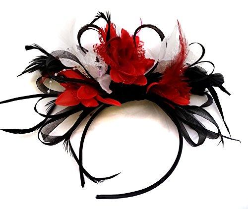fascinator wei  Caprilite Fashion Schwarz Rot und wei§ BURLESQUE FASCINATOR Stirnband Hochzeit KOPFSCHMUCK HAARSCHMUCK