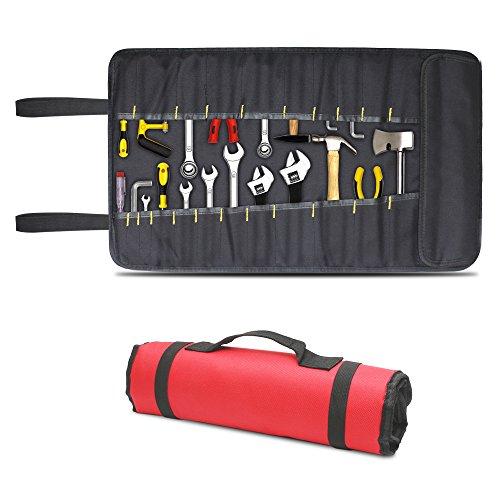 AEMIAO Nylon Multi-Purpose 22 Fächern Taschen Sockel Werkzeugtasche Werkzeugrolltasche Werkzeugrolle unbestückt Roll Beutel Bag Carrier Profi Elektriker Organizer Mechanik Werkzeug Set Lagerung