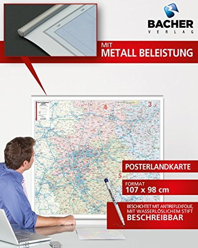 BACHER Postleitzahlenkarte Nordrhein-Westfalen Maßstab 1:280 000, Papierkarte gerollt, folienbeschichtet und beleistet: Die Postleitzahlenkarte ... Ortsteile mit der Sterndarstellung.