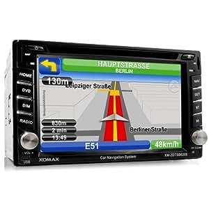 """Xomax XM-2DTSBN6208 Autoradio / Moniceiver / Naviceiver avec navigation GPS + Logiciel MapFactor Pocket Navigator 12 incluant des cartes d'Europe (39 pays) + Fonction mains libres Bluetooth avec import de répertoire + écran tactile 6,2"""" (16 cm) en résolution 16:9 HD (800 x 480 Pixel) + lecteur DVD / CD sans code + port USB jusqu'à 32 Goavec insert pour carte mémoire SD jusqu'à 32 Go + Divertissement multimédia : MPEG4, MP3, WMA, AVI, DivX etc. + port pour Subwoofer, caméra de recul et télécommande de volant + Taille de montage standard double DIN avec télécommande, cadre de montage et obturateur.."""