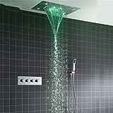 HKHFHW Dusche System Doppel Wasserfall Regen Große Decke Führte Regen Duschkopf Einbau Automatische Farbe Ändern Thermo Tap Duschsystem | Regendusche
