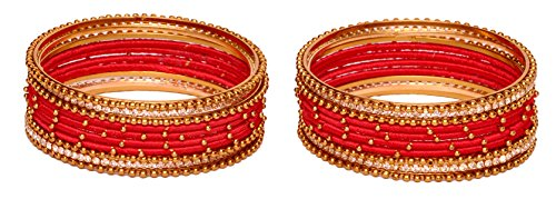 6 Color Beautiful Designer Royal Silk Thread Bangle for Women & Girls on Wedding & Festive Occasions (Red, 2.2)