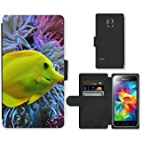PU Leder Wallet Case Folio Schutzhülle // F00017679 Yellow tang Fisch im Wasser // Samsung Galaxy S5 MINI SM-G800 (not fit S5)