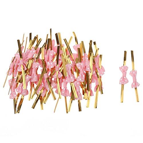 Sharplace 50 Stück Twist Ties mit Bowknot für Süßigkeitentüten Aufbewahrungsbeutel Weinachten Geschenk Verpackung - Rosa