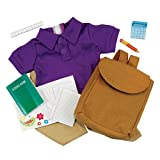 "18 Inch Doll School Days Clothing & Accessories Set, Folder, Notebook, Binder Sheets, Play Calculator, Ruler, Pencil, Backpack, Jersey Polo and Khaki Pants Accessories Fit 18"" American Girl Dolls"