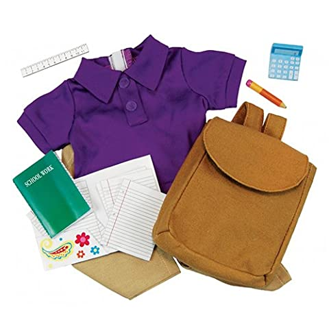 18 Inch Doll School Days Clothing & Accessories Set, Folder, Notebook, Binder Sheets, Play Calculator, Ruler, Pencil, Backpack, Jersey Polo and Khaki Pants Accessories Fit 18