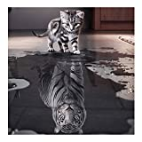 Twuky 5D DIY Diamond Set Full Diamond Diamond Painting Living Room Wall Stickers,Reflection cat(12X12inch/30X30CM)