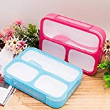 Tuelip Any 1 Color Plastic Grid Lunch Box With 3 In 1 Slots And Spoon Innovative And Durable 3 Containers Lunch Box (500 Ml)