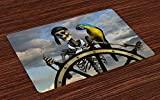 xcvzcxvzxcb Pirate Place Mats Skeleton Corsair Captain on Steering Wheel Exotic Macaw Parrot Bandit Cloudy Sky Washable Fabric Placemats for Dining Room Kitchen Table Decoration Multicolor 23.6x15.7