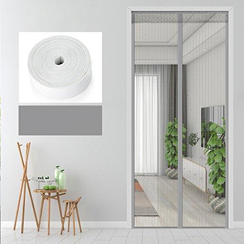 Nclon Magnet fliegengitter Tür Klebemontage,Full-Frame Fliegenvorhang moskitonetz magnetvorhang Zum insektenschutz Automatisches Schließen -Grau 110x210cm(43x83inch)