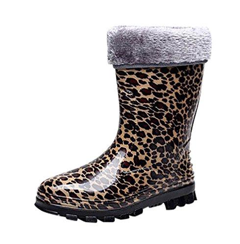 5768cceb961b94 LvRao Damen Hohen Absätzen Lange Stiefel Gummistiefel Wasserdichte Regen  Schuhe Hoch Knöchel Boots Langschaft Stiefel Leopard