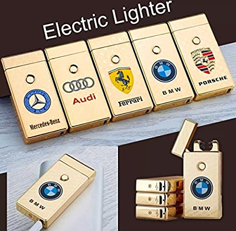 Briquet sans flamme rechargeable à double arc électrique avec logo de voiture, torche à plasma incluse, Audi -Gold